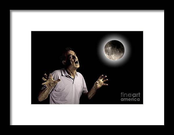 Anger Framed Print featuring the photograph Scary Man Under Cloudy Moon by Sarah Cheriton-Jones