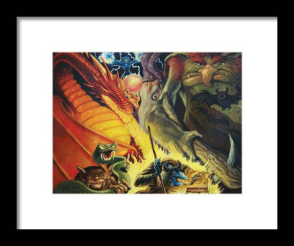 Monsters Framed Print featuring the painting Scary Things by Gregg Hinlicky