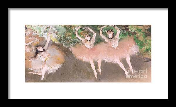 Scene; Ballet; Impressionist; Dance; Dancer; Dancers; Dancing; Ballerina; Ballerinas; Print; Printmaking; Green; Pink; Movement; Grace; Performance; Entertainment; Paris; Parisian; Belle Epoque; Tutu; Tutus; Female; En Pointe; Impressionistic Framed Print featuring the pastel Scene De Ballet by Edgar Degas