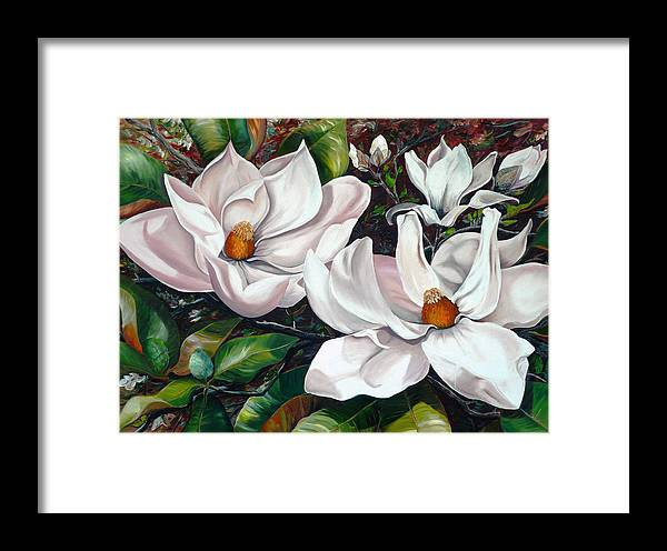 Magnolia Painting Flower Painting Botanical Painting Floral Painting Botanical Bloom Magnolia Flower White Flower Greeting Card Painting Framed Print featuring the painting Scent Of The South. by Karin Dawn Kelshall- Best