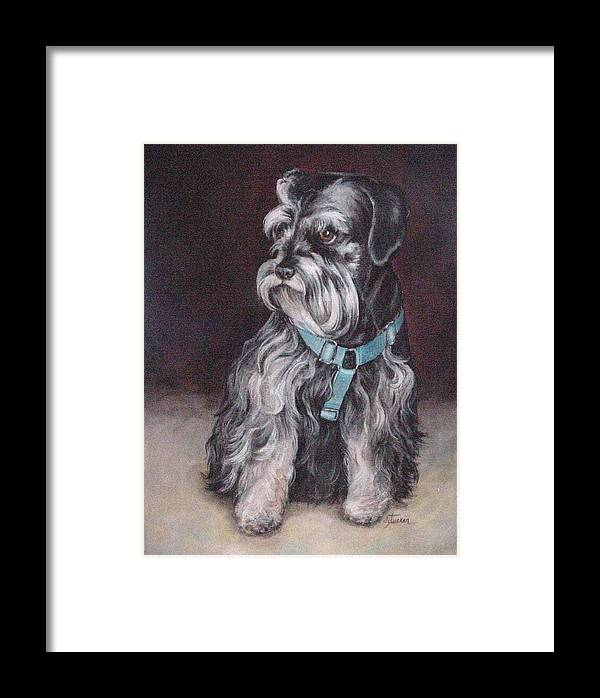 Nature Framed Print featuring the painting Schnauzer by Donna Tucker