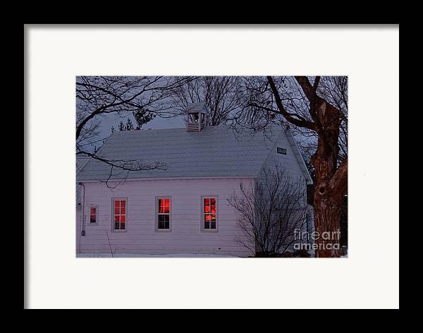 Sunset Sky Framed Print featuring the photograph School House Sunset by Cheryl Baxter
