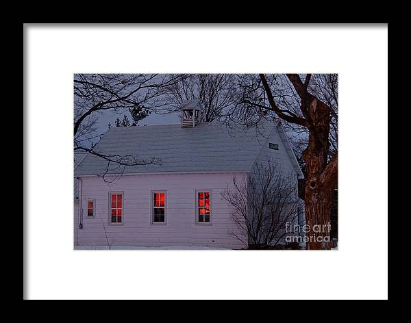 Sunset Sky Framed Print featuring the photograph School House Sunset by Cheryl Baxter