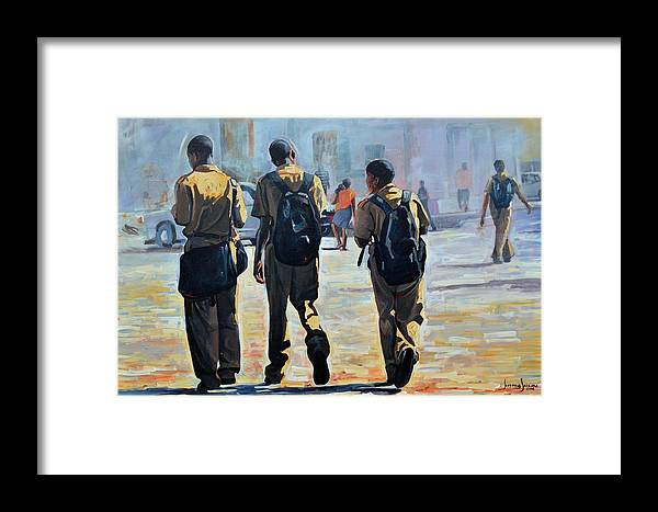 Framed Print featuring the painting Schoolers by Jeffrey Samuels