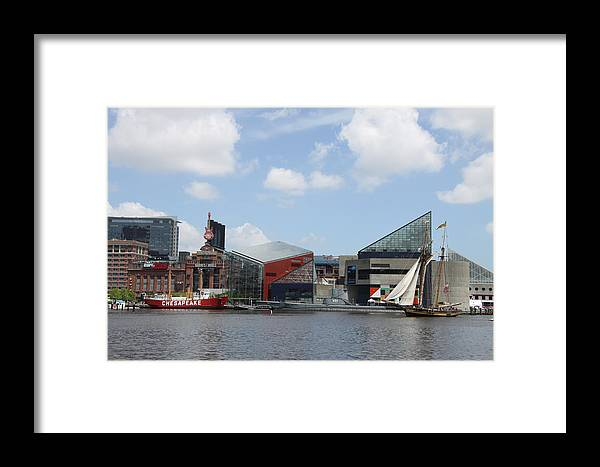 Sail Ship Framed Print featuring the photograph Schooner Comming Back To Baltimore Harbor by Christiane Schulze Art And Photography