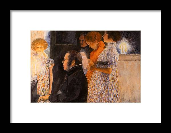 Schubert Framed Print featuring the painting Schubert At The Piano - After Klimt by Don Perino