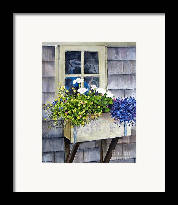 Window Framed Print featuring the painting 'sconset Window Box by Karol Wyckoff