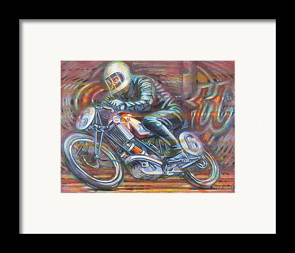 Motorcycle Framed Print featuring the painting Scott 2 by Mark Jones