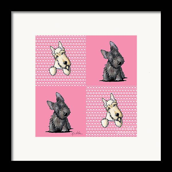 Scottie Framed Print featuring the drawing Scottish Quilt by Kim Niles