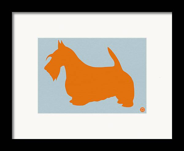 Scottish Terrier Framed Print featuring the painting Scottish Terrier Orange by Naxart Studio