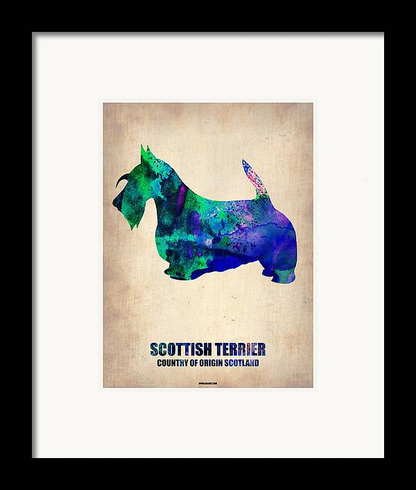 Scottish Terrier Framed Print featuring the painting Scottish Terrier Poster by Naxart Studio