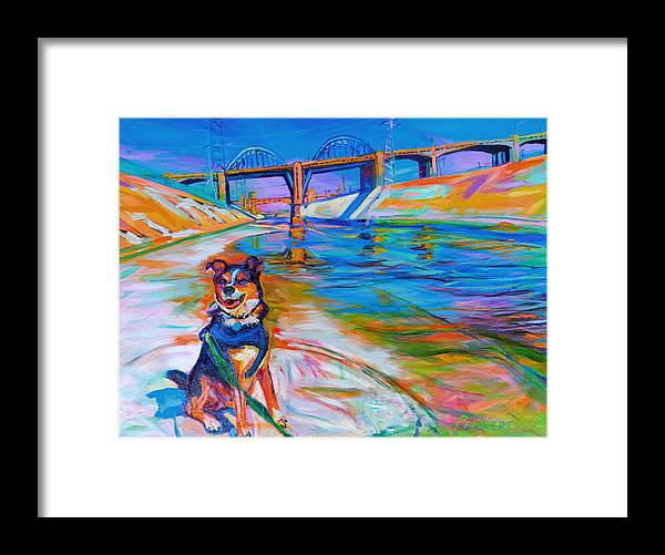 Dog Framed Print featuring the painting Scout the River Guard by Bonnie Lambert
