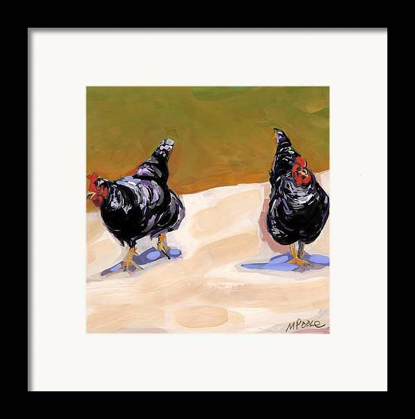 Chickens Framed Print featuring the painting Scratch by Molly Poole