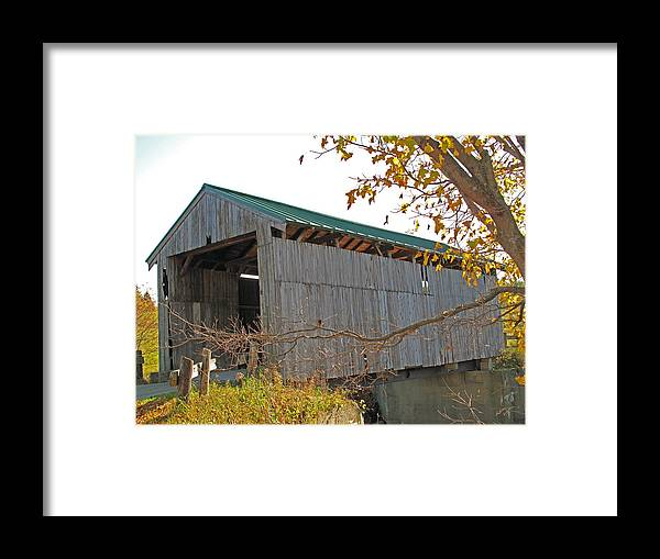 Wooden Bridge Framed Print featuring the photograph Scribner Bridge 2 by Barbara McDevitt