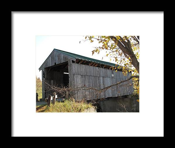 Covered Bridge Framed Print featuring the photograph Scribner Bridge Johnson Vermont by Barbara McDevitt
