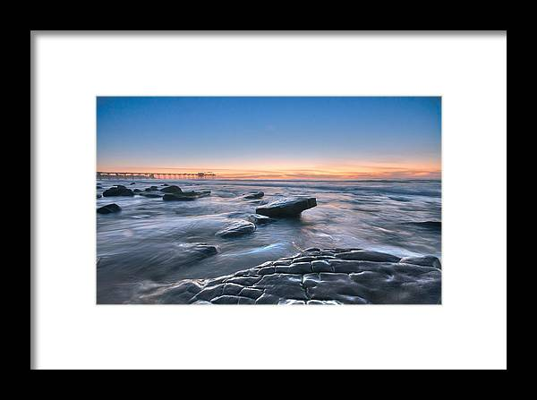 Framed Print featuring the photograph Scripps Pierr Low Tide by Lee Bertrand