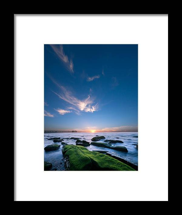 Framed Print featuring the photograph Scripps Pierr Sunset by Lee Bertrand