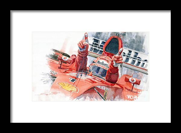 Watercolor Framed Print featuring the painting 2001 Scuderia Ferrari Marlboro F 2001 Ferrari 050 M Schumacher by Yuriy Shevchuk