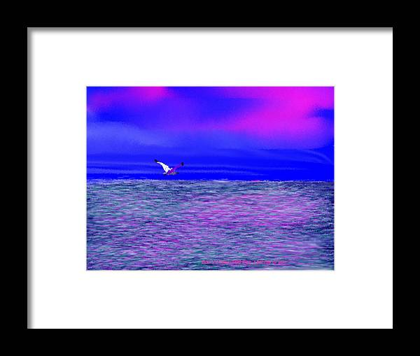 Evening.sky.clouds.sunrays.sun.sunset.sea.waves.colors.blue.pink.red.dark Blue Framed Print featuring the digital art Sea. Last Rays Of Sun by Dr Loifer Vladimir
