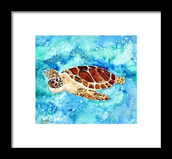Sea Turtle Framed Print featuring the painting Sea Turtle by Derek Mccrea