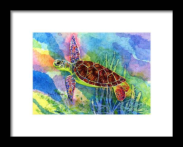 Turtle Framed Print featuring the painting Sea Turtle by Hailey E Herrera
