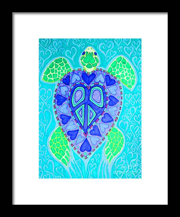 Sea Turtle Framed Print featuring the drawing Sea Turtle Swim by Nick Gustafson
