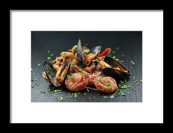 Prawn Framed Print featuring the photograph Seafood Pasta by Cbording