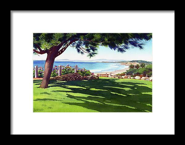 Seagrove Framed Print featuring the painting Seagrove Park Del Mar by Mary Helmreich
