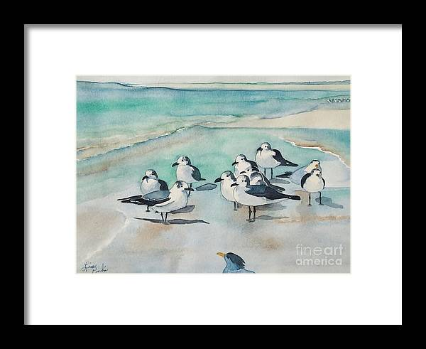 Seagull Party Framed Print featuring the painting Seagull Party by Lise PICHE