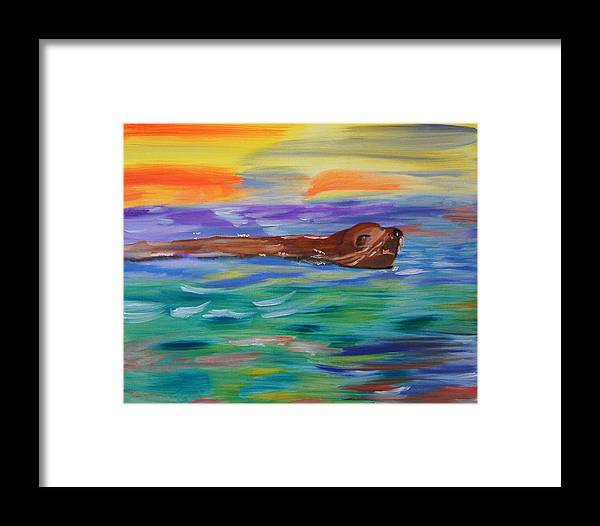 Sealion Framed Print featuring the painting Sunny Sea Lion by Meryl Goudey