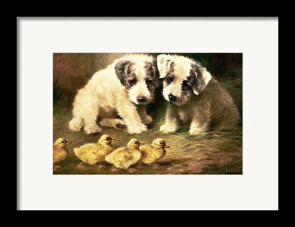Dog Framed Print featuring the painting Sealyham Puppies And Ducklings by Lilian Cheviot