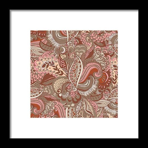 Gift Framed Print featuring the digital art Seamless Abstract Hand-drawn Floral by Radugaart