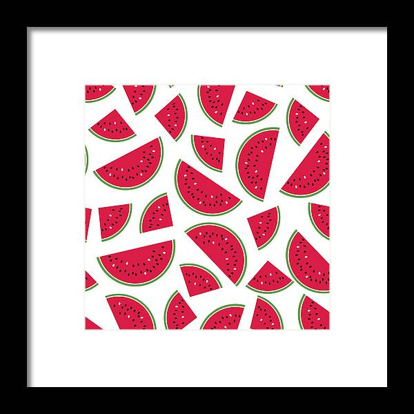 Art Framed Print featuring the digital art Seamless Colorful Pattern With Red by Ekaterina Bedoeva