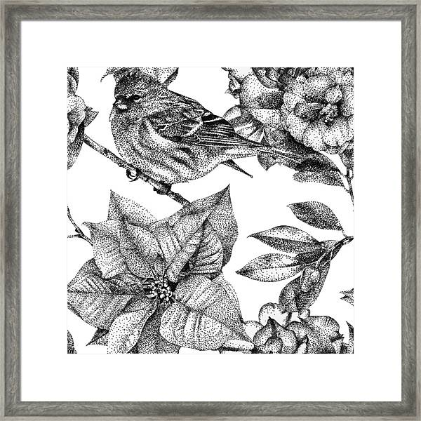 Seamless Pattern With Different Flowers Birds And Plants Framed
