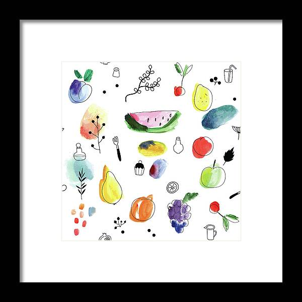 Cherry Framed Print featuring the digital art Seamless Pattern With Fruits, Berries by Loliputa