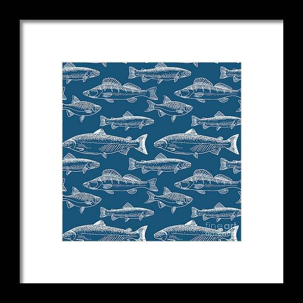 Illustrations Framed Print featuring the digital art Seamless Pattern With Hand Drawn Fish by Radiocat