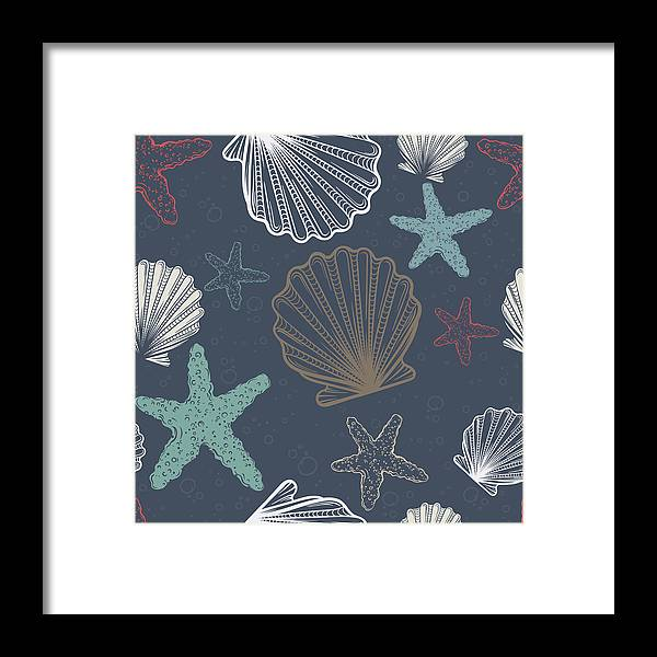 Mollusk Framed Print featuring the digital art Seamless Pattern With Shells And by Olga antoshevskaya