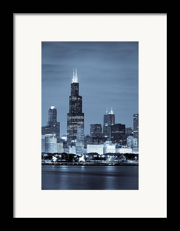 Chicago Skyline Framed Print featuring the photograph Sears Tower In Blue by Sebastian Musial