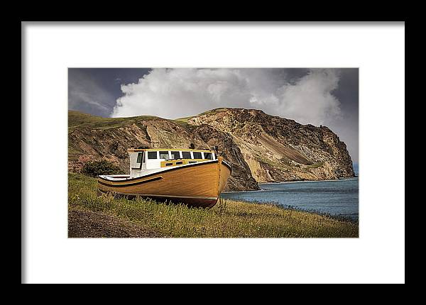 Boat Framed Print featuring the photograph Seasacape With Boat by Phil Cardamone