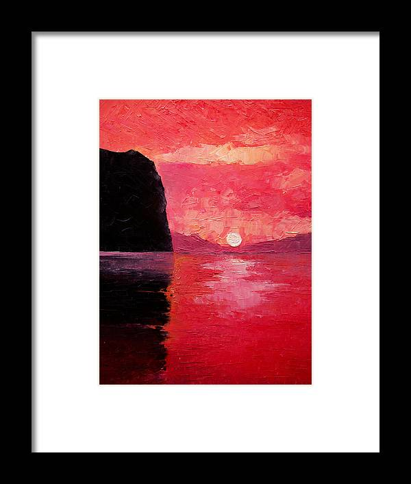 Landscape Framed Print featuring the painting Seaside Sunset by Sergey Bezhinets