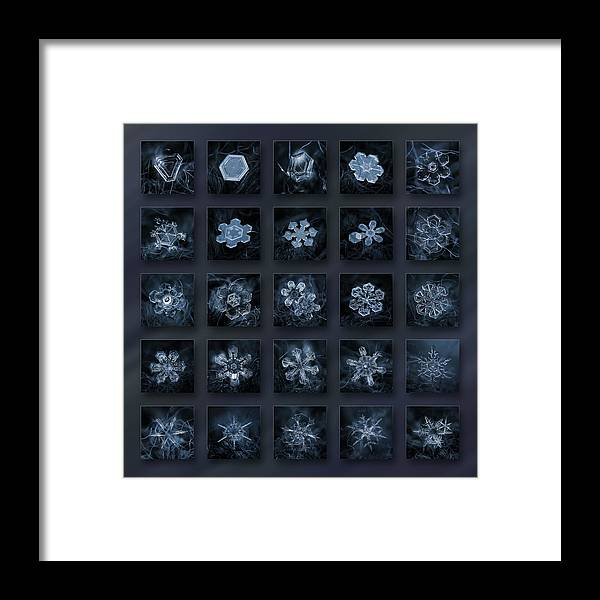Snowflake Framed Print featuring the photograph Snowflake collage - Season 2013 dark crystals by Alexey Kljatov
