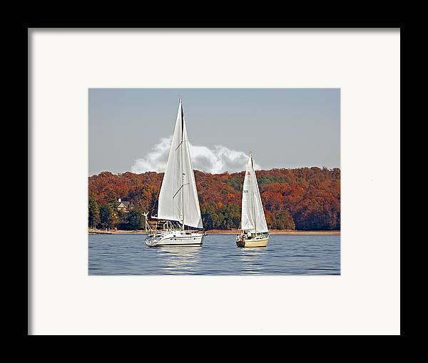 Two Framed Print featuring the photograph Seasonal Sailing by Susan Leggett