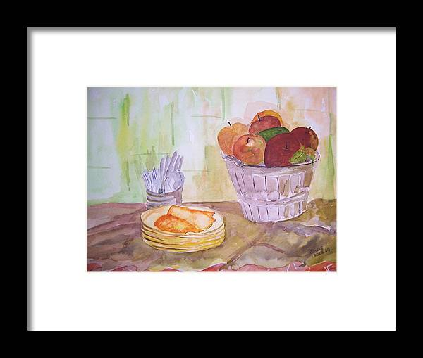 Basket Of Apples Framed Print featuring the painting Season's Finest by Jacqueline Coote