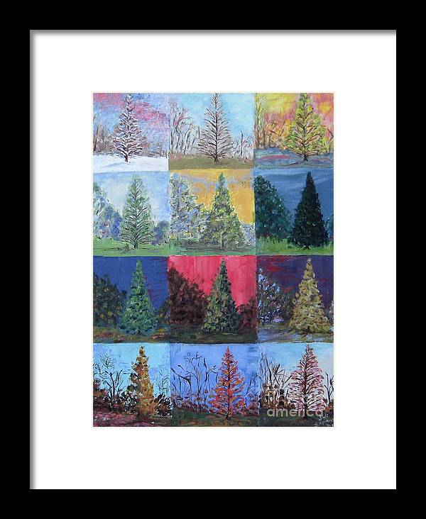 Trees With Different Backgrounds Framed Print featuring the painting Seasons Of A Dawn Redwood - Sold by Judith Espinoza