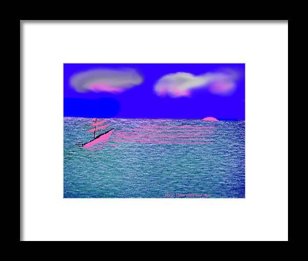 Early Evening Framed Print featuring the digital art Sea.sun by Dr Loifer Vladimir
