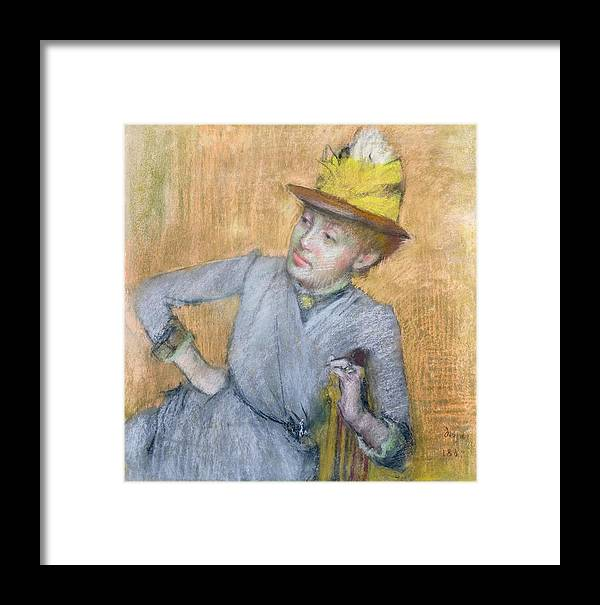Sitting Framed Print featuring the pastel Seated Woman by Edgar Degas