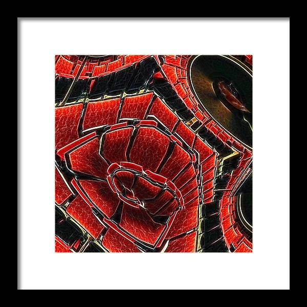 Red Framed Print featuring the digital art Seating Arrangement by Wendy J St Christopher