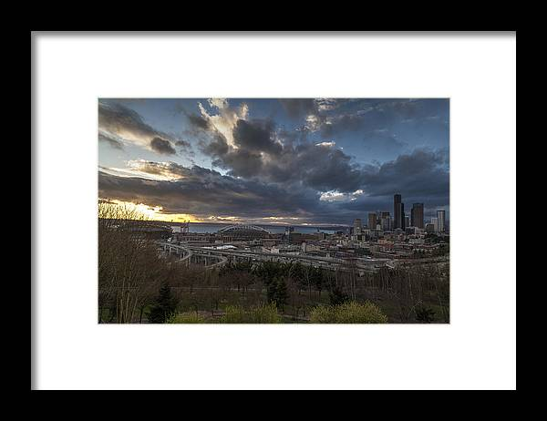 Seattle Framed Print featuring the photograph Seattle Dramatic Dusk by Mike Reid