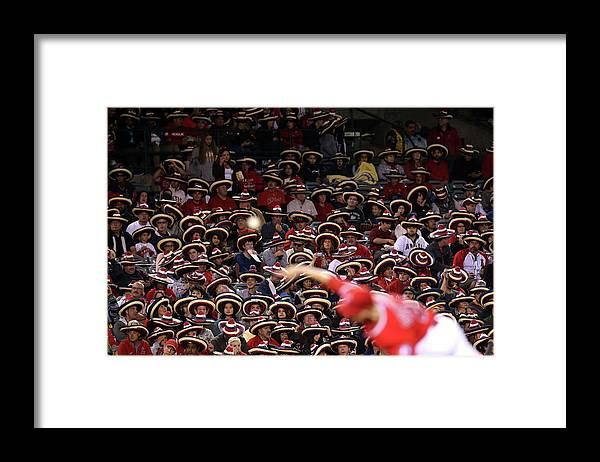 American League Baseball Framed Print featuring the photograph Seattle Mariners V Los Angeles Angels by Stephen Dunn