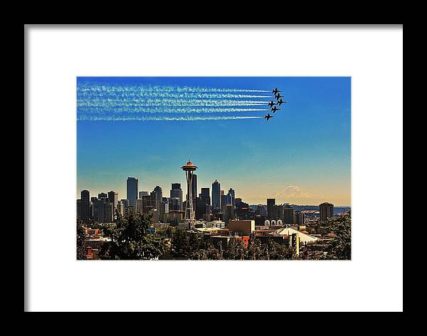Blue Angels Framed Print featuring the photograph Seattle Seafair by Benjamin Yeager
